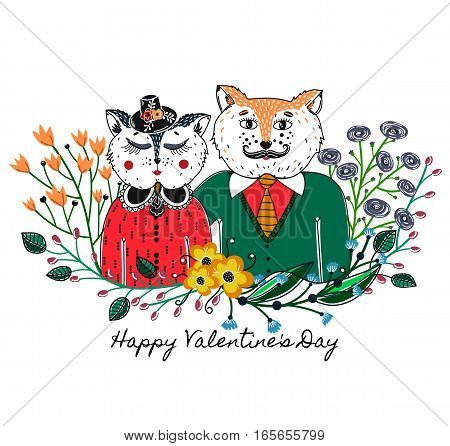 Enamoured cats. Greeting background on Valentine's Day. Feast of love. Holiday. Floral border. Sketch of animals. Colorful card. Vector illustration eps10
