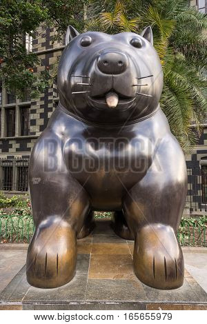 October 19, 2016 MedellinColombia: surrealist statue of a dog donated by Botero to his birth city displayed publicly in the park named after the author