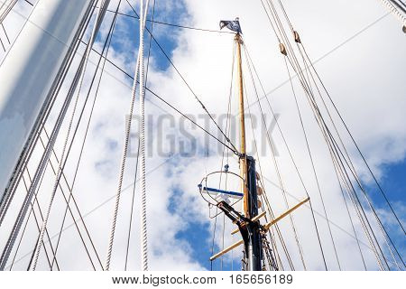 View of the Topmast on a tall ship. Sailing ship rigging detail.