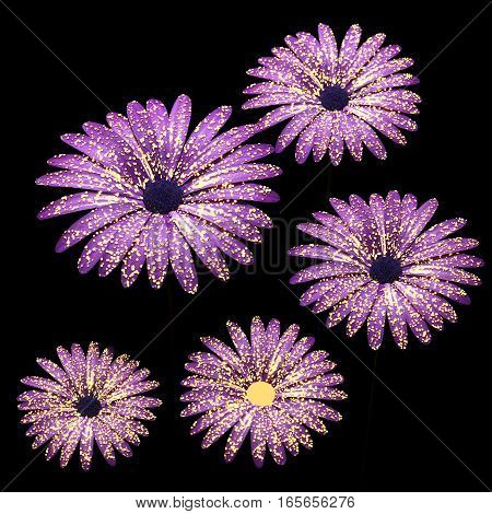 Violet flowers composition in black 3D illustration