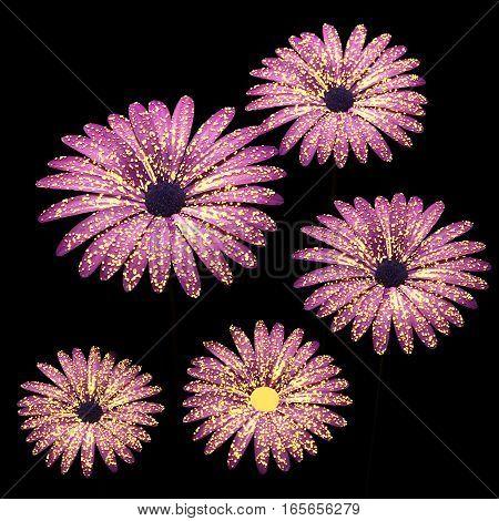 Pink flowers composition in black 3D illustration