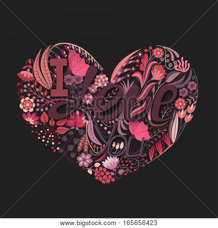 Floral heart. Hand drawn creative flower. Greeting background on Valentine's Day. Feast of love. Holiday. Colorful card. Vector illustration eps10