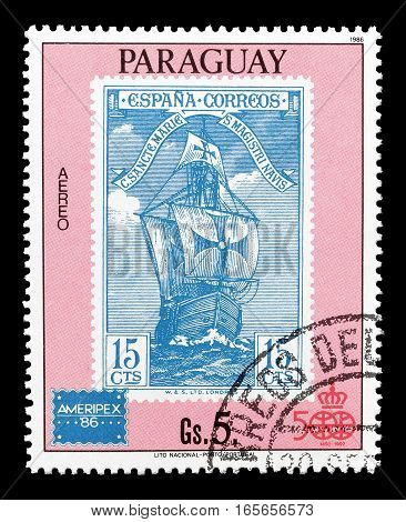 PARAGUAY - CIRCA 1986 : Cancelled postage stamp printed by Paraguay, that shows Old ship.