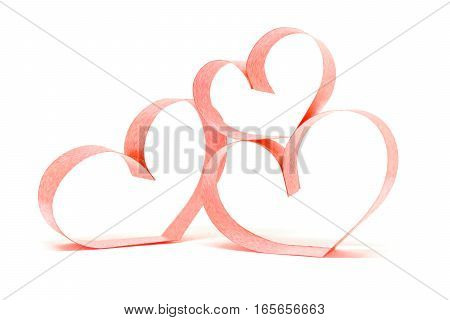 Valentines day card - heart made of ribbon on white background.vv