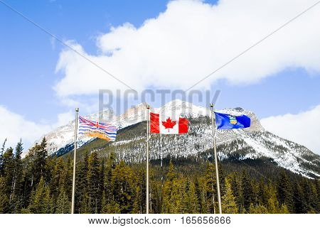 State Boundary of Albarta and British Columbia on Highway 93 (Bnaff-Windermere Highway or Kootenay Highway) Canadian Rockies
