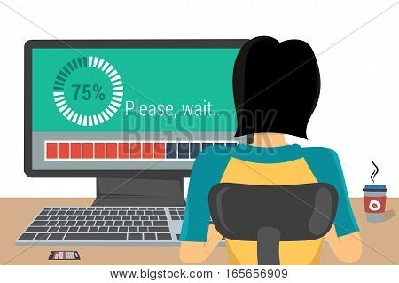 Woman working on internet using computer where appeared the inscription - Please, wait, for update software. Vector concept work at home, freelance, update process in flat style. Back view