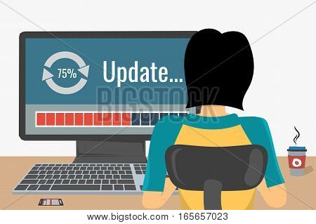 Woman working on internet using computer where update software. She drinking coffee. Vector concept work at home, freelance, update process in flat style. Back view