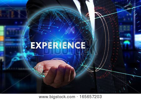 Business, Technology, Internet And Network Concept. Young Businessman Working In The Field Of The Fu