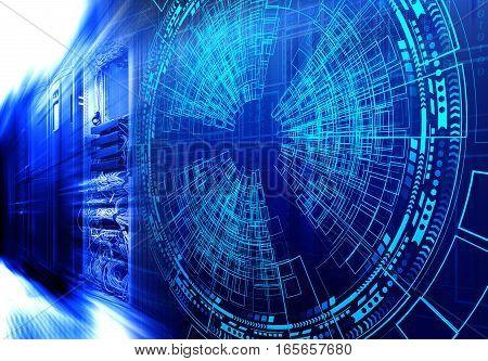 Modern web network and internet telecommunication technology, big data storage and cloud computing computer service concept