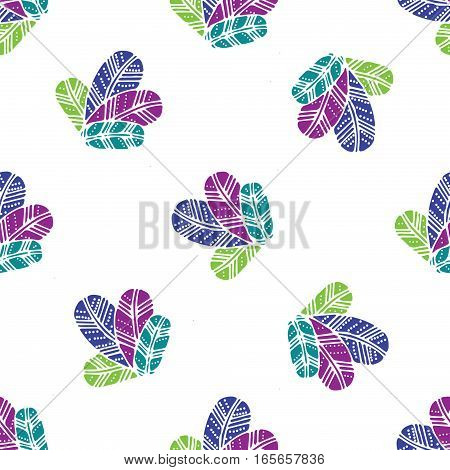bunch of colorfull Feathers seamless pattern on white