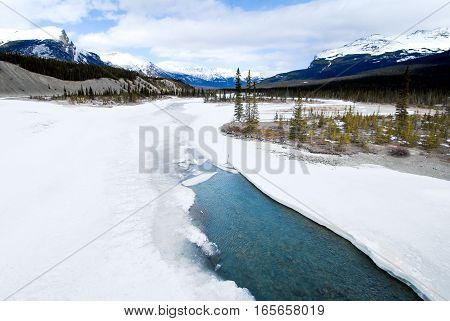 North Saskatchewan River in Winter Canadian Rockies Alberta Canada