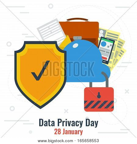 Vector Illustration of World Data Privacy Day and Secure Cloud Storage in flat style