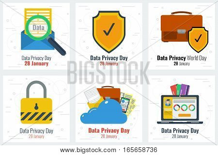 Six square business flat concepts - Data Privacy Day for 28 january