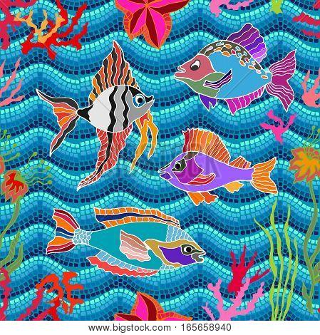 Marine textile collection. Tropical ocean. Dark blue wavy mosaic background.