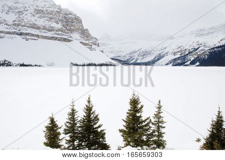 Bow Lake in Winter Banff National Park Canadian Rockies