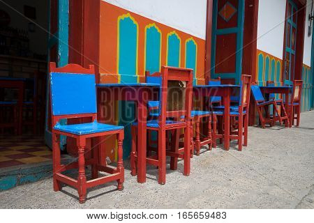 colourful coffee house patio furniture in El Jardin Colombia