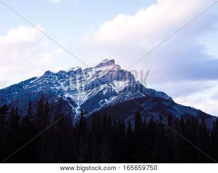 Mount Rundle in the Evening in Winter Banff National Park Canadian Rockies
