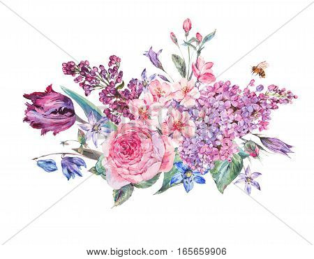 Vintage garden watercolor spring bouquet with pink flowers blooming branches of peach, pear, lilacs, tulips, scilla, roses and bee, isolated botanical illustration on white