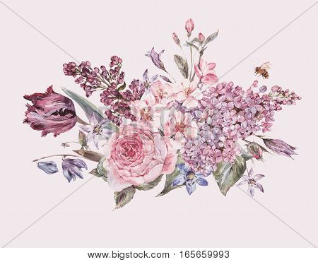 Shabby vintage garden watercolor spring bouquet with pink flowers blooming branches of peach, pear, lilacs, tulips, scilla, roses and bee, isolated botanical illustration on white