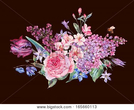 Vintage garden watercolor spring bouquet with pink flowers blooming branches of peach, pear, lilacs, tulips, scilla, roses and bee, isolated botanical illustration on black