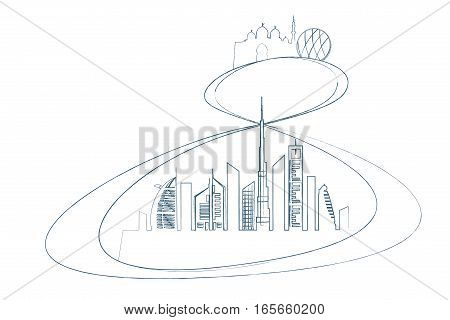 Dubai and Abu-Dhabi transport system vector illustration