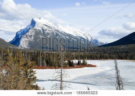 Mount Rundle and Vermilion Lake in Winter Banff National Park Canadian Rockies