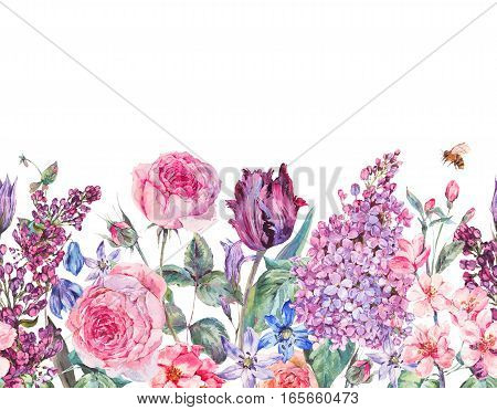 Vintage garden watercolor spring seamless border with purple flowers, lilacs, tulips, scilla and bee