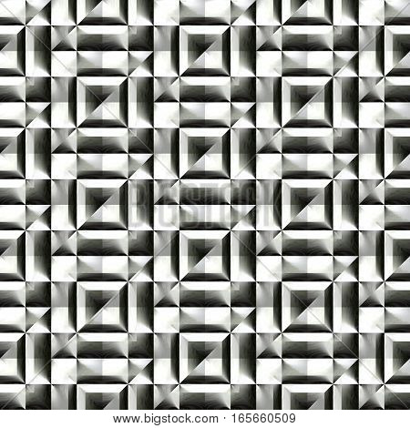 Abstract black and white plastic pattern.  Metallic silver 3D surface. Checked relief.  Texture background. Seamless illustration.
