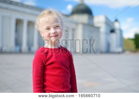 Two Cute Little Girl Sightseeing In Vilnius, Lithuania