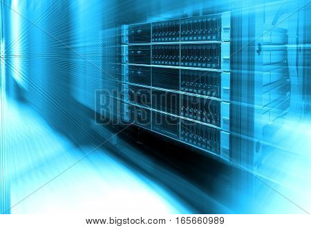 Stand with server hardware and lighting in the server room motion blur