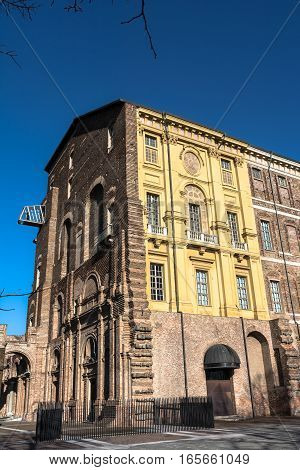 Rivoli,Turin,Italy,Europe - January 4, 2017 : The facade of the Castle of Rivoli