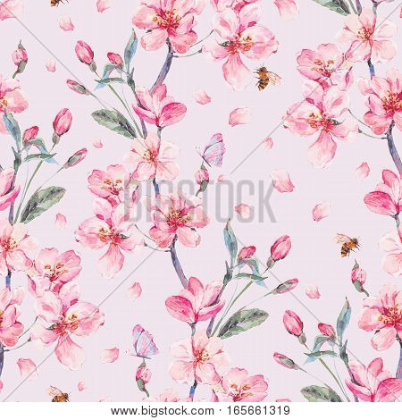 Vintage watercolor spring garden seamless background with pink flowers blooming branches of cherry, peach, pear, sakura, apple trees and butterflies, isolated botanical illustration