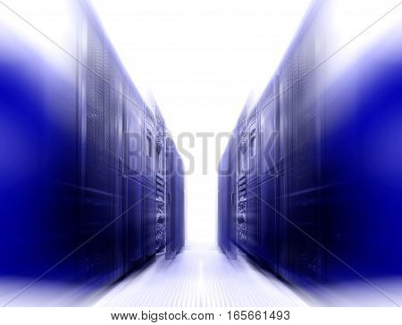 symmetrical futuristic modern server room in the data center with bright light