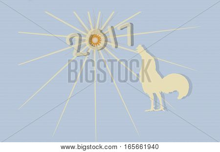 2017 Happy new year concept for rooster year with blue background.