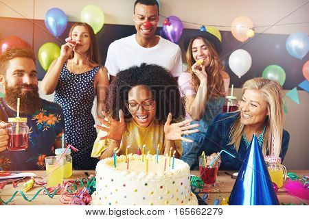Vivacious African Woman Celebrating Her Birthday