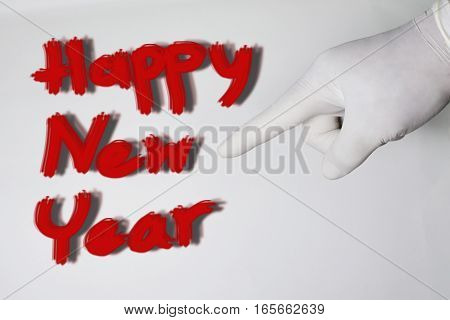2017 Happy new year concept. red text on white background.