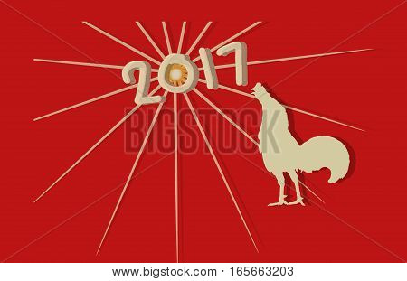 2017 Happy new year concept for rooster year with red background.