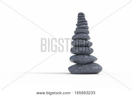 Balancing stones set isolated on white 3d render