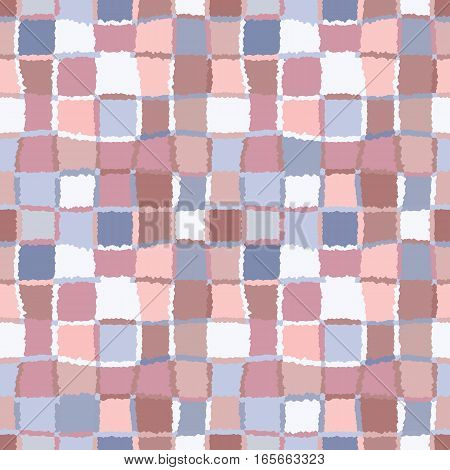 Seamless geometric mosaic checked pattern. Background of woven rectangles and squares. Patchwork, ceramic, tile texture. Cold, pastel, variegated, blue, brown, rose, gray colors. Winter theme. Vector