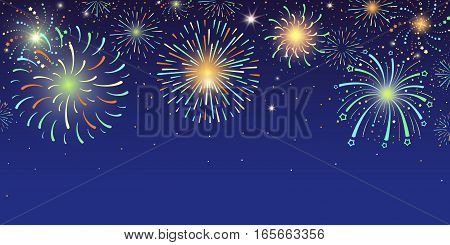 Festive horizontal banner with bright colorful firework lights exploding at night sky vector illustration