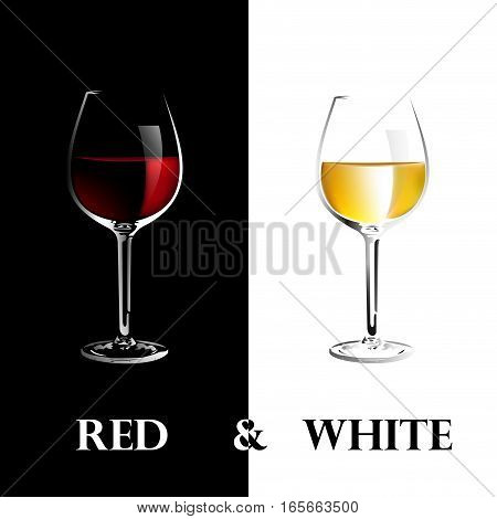 Vector wine list, two glasses in black and white