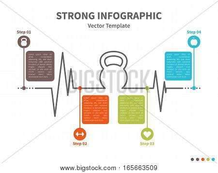 Vector infographic colorful template. Concept with kettlebell stylized element and healthy lifestyle icons on the white background.