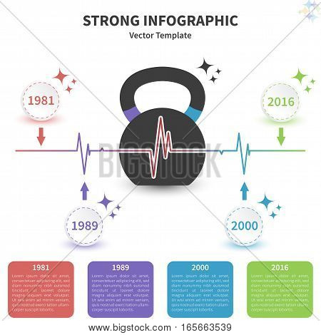 Vector infographic colorful template. Concept with kettlebell stylized element on the white background.