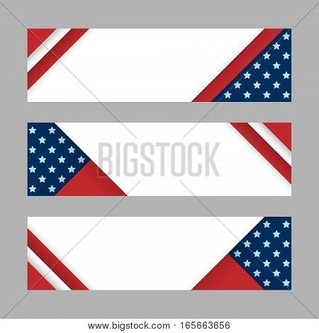 Set of modern vector horizontal banners page headers with stripes and stars in the colors of the American flag. Material design banners for Presidents day USA Independence day national celebrations
