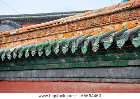 Decorative Wall in the Shenyang Imperial Palace Mukden Palace, Shenyang, Liaoning Province, China. Shenyang Imperial Palace UNESCO world heritage site built in 400 years ago.