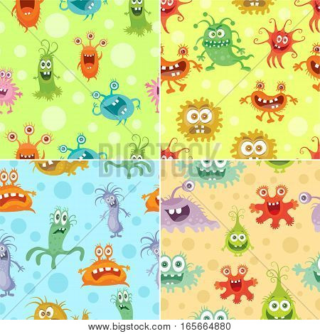 Set of seamless patterns with good and bad bacteria cartoon characters. Funny virus germs in flat style. Microbes endless texture. Dangerous organisms parasites. Wallpaper design. Vector illustration