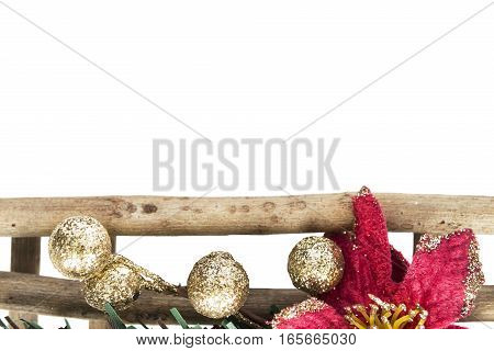 Element of holiday decorations closeup on white background