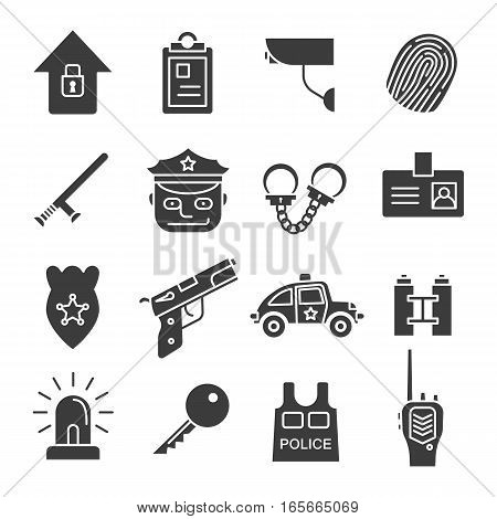 Police concepts icons set. Silhouette symbols. Security agency isolated vector illustration. On white background