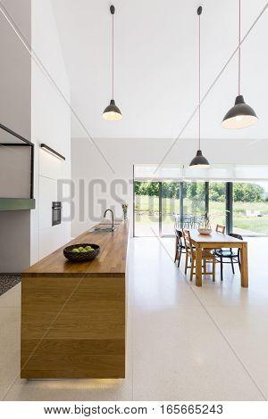 Spacious Kitchen With Wooden Worktop