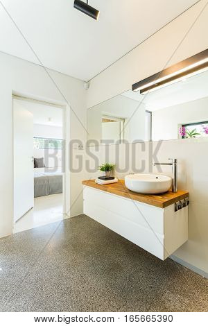 Minimalist Bathroom Interior With Mirror